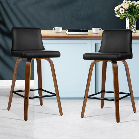 Bar Stools Leather With Swivel x 2 - Black