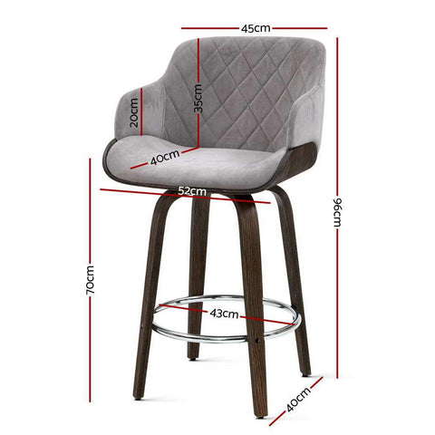 Wooden and Swivel Kitchen Bar Stools and Chair 'Artiss'  x 1- Velvet Fabric - Grey