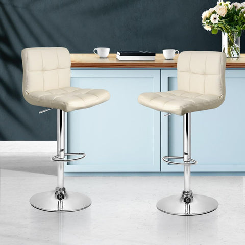 Bar Stools Leather With Swivel & Gas Lift x 2 - Beige