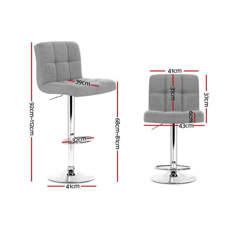 Bar Stools 'Noel' Fabric With Swivel & Gas Lift x 4 - Grey