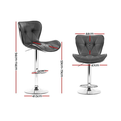 Bar Stools Leather With Swivel & Gas Lift x 2 - Grey