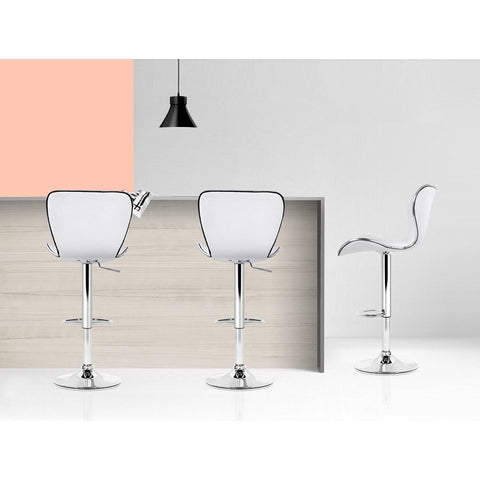 Bar Stools Leather With Swivel & Gas Lift x 4 - White