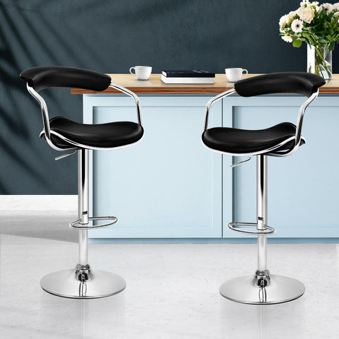Bar Stools Leather With Swivel & Gas Lift x 2 - Black