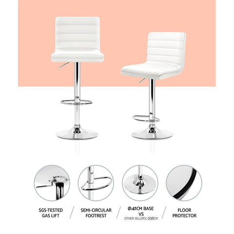 Bar Stools Leather With Swivel & Gas Lift x 2 - White