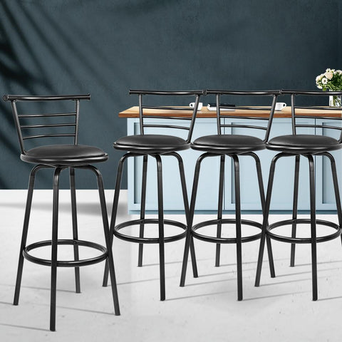 Bar Stools Leather With Swivel x 4 - Black