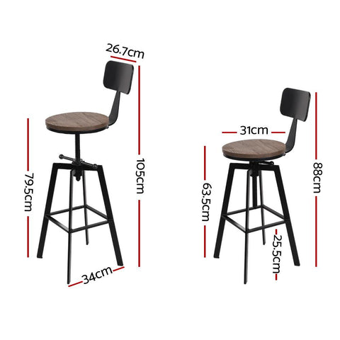 Bar Stools Rustic With Swivel x 2 - Brown