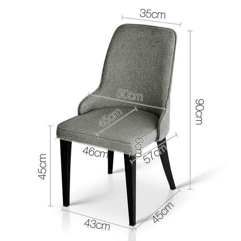 Fabric Dining Chairs x 2 - Grey dimensions