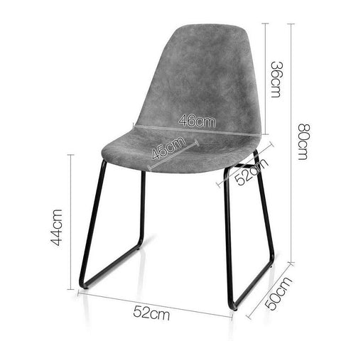 Artiss 'Herald' PU Leather Dining Chairs x 2 - Grey dimensions