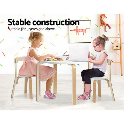 Keezi 3 Piece Set Kids Activity Table and Chairs white kids chair set