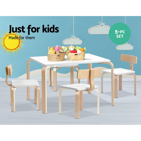 Keezi 5 Piece Childrens Table and Chairs Set - White kids chair table set
