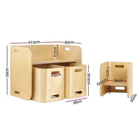 Keezi 3PC Kids Table and Chairs Set - Beige dimensions