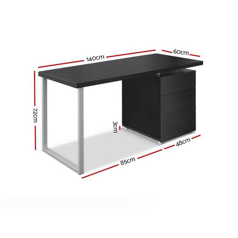 Metal Desk with 3 Drawers - Black dimensions