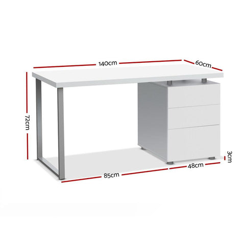 Metal Desk with 3 Drawers - White dimensions