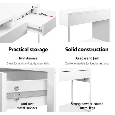 Metal Desk with 2 Drawers - White powder coated