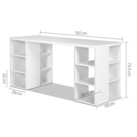Artiss 3 Level Desk with Storage & Bookshelf - White dimensions