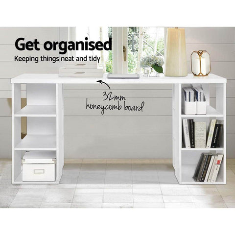Artiss 3 Level Desk with Storage & Bookshelf - White 32mm board