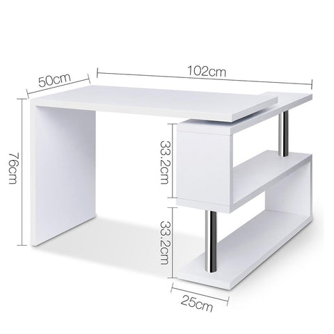 Rotary Corner Desk with Bookshelf - White dimensions