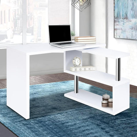 Rotary Corner Desk with Bookshelf - White office desk