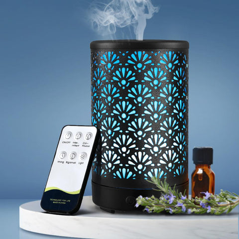 Products Devanti Aroma Diffuser Aromatherapy Essential Oils Metal Cover Ultrasonic Cool Mist 100ml Remote Control Black