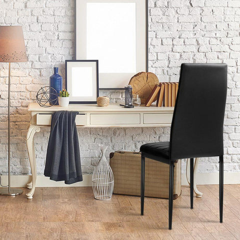 Artiss 'Astra' Set of 4 Dining Chairs PVC Leather x 4 - Black great study chair