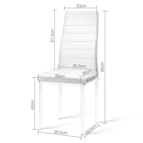 Artiss 'Astra' Set of 4 Dining Chairs PVC Leather - White dimensions
