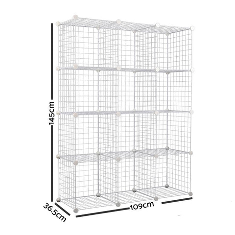 12 Cube Metal Wire Storage Cabinet - White dimensions