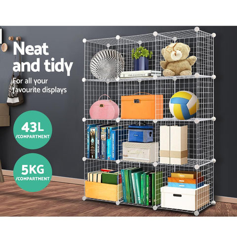 12 Cube Metal Wire Storage Cabinet - White 5kg capacity