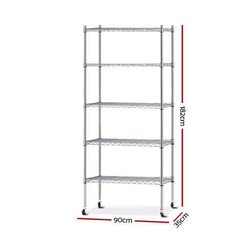 90cm 5 Tier Metal Wire Rack Shelving Unit - Chrome dimensions