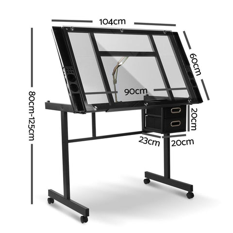 Artiss Adjustable Drawing Desk - Black and Grey dimensions