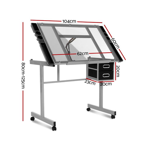 Artiss Drawing Desk Drafting Table Craft Adjustable Glass Art Tilt Drawers - Grey dimsensions