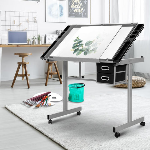 Artiss Drawing Desk Drafting Table Craft Adjustable Glass Art Tilt Drawers - Grey best drafting desk