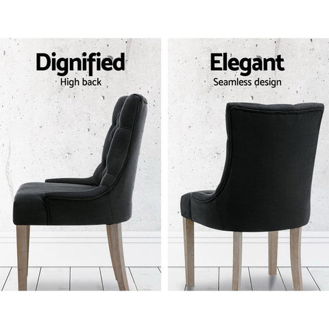 Artiss 'Cayes' French Provincial Dining Chairs Wooden Fabric Retro - Black dignified elegant