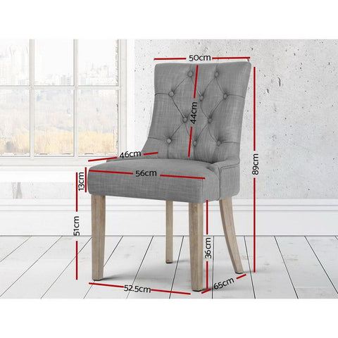 Artiss 'Cayes' French Provincial Dining Chair - Grey dimensions
