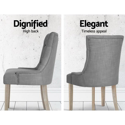 Artiss 'Cayes' French Provincial Dining Chair - Grey dignified high back