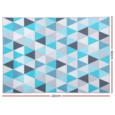Short Pile Floor Rug 160x230cm 'Tria' - Soft Blue floor rug