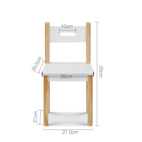 Kids Table and Chair Storage Desk - White & Natural chair dimensions