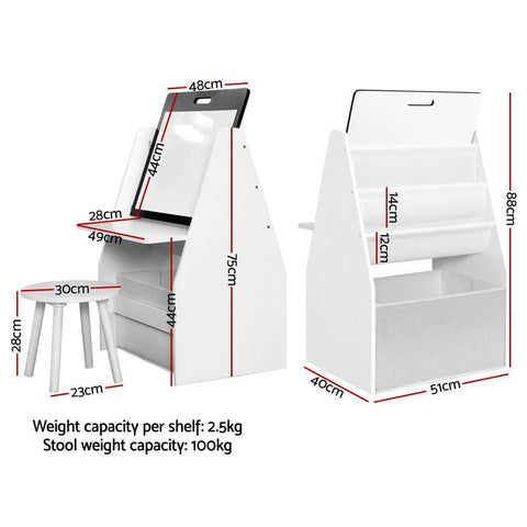 Keezi Kids Bookshelf Easel Whiteboard Magazine Rack Desk - White dimensions