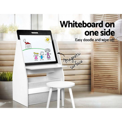 Keezi Kids Bookshelf Easel Whiteboard Magazine Rack Desk - White kids whiteboard