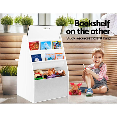 Keezi Kids Bookshelf Easel Whiteboard Magazine Rack Desk - White kids bookcase