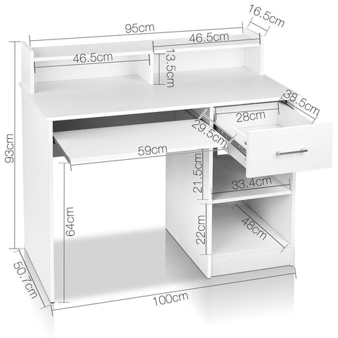 Office Computer Desk with Storage - White dimensions