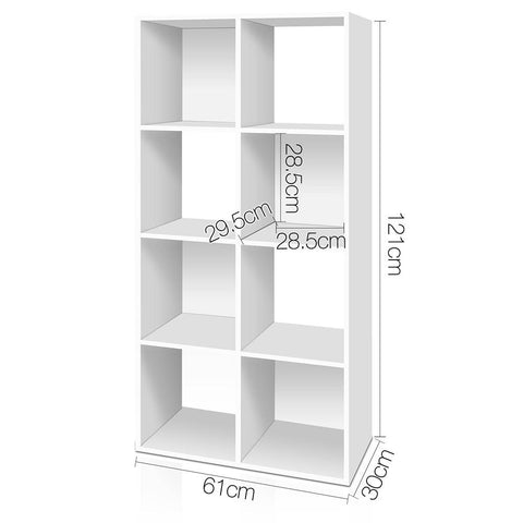 Artiss 8 Cube Display Storage Shelf - White dimensions