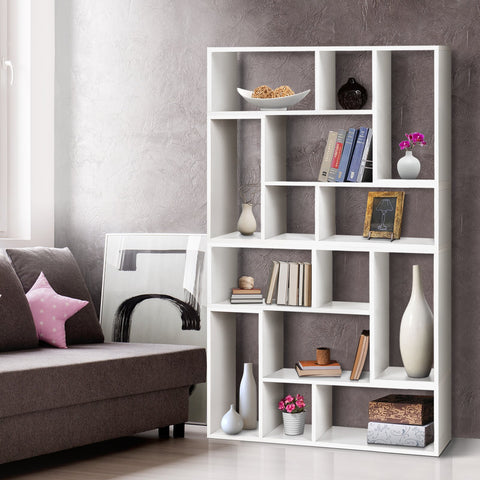 Artiss DIY L Shaped Display Shelf - White best office shelving