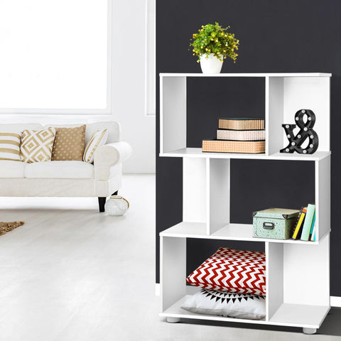 Zola 3 Tier Zig Zag Bookshelf - White shelving