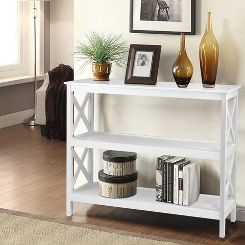 Wooden Storage Console Table - White office table