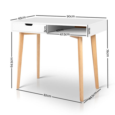 Wood Computer Desk with Drawers - White computer desk