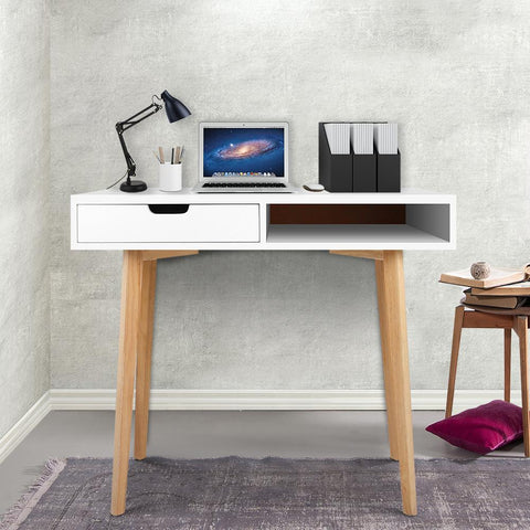 Wood Computer Desk with Drawers - White study desk