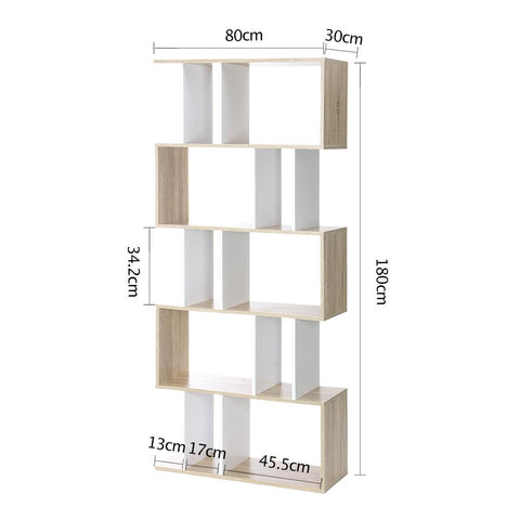 Artiss 5 Tier Display Book Storage Shelf Unit - White/Brown dimensions