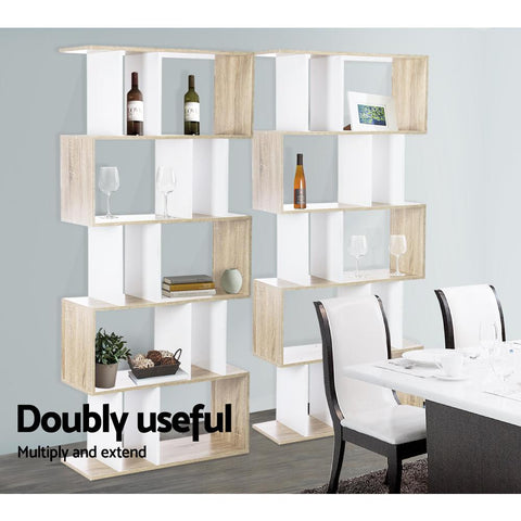 Artiss 5 Tier Display Book Storage Shelf Unit - White/Brown modern office shelving
