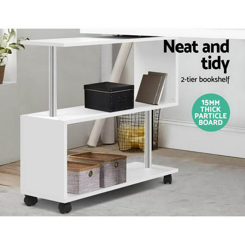 Artiss 'Caso' Office Computer Desk Corner Study Table Workstation Bookcase Swivel - White neat and tidy