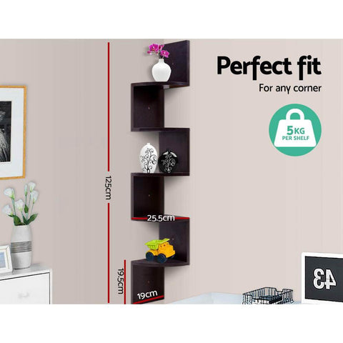 Artiss 5 Tier Corner Wall Floating Shelf Mount Display Bookshelf Rack - Brown dimensions